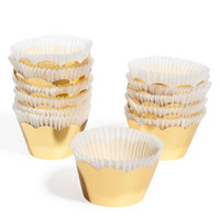 Box of 12 gold cupcake cases