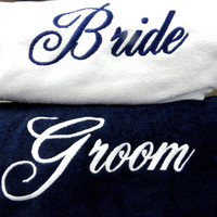 BRIDE & GROOM BEACH Towel Set with Tote Bag Embroidered 100% cotton terry velour Bridal or Couple Shower or Wedding Gifts Made to Order