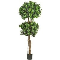 SheilaShrubs.com: 5.5' Eucalyptus Double Ball Topiary Silk Tree 5248 by Nearly Natural : Artificial Flowers & Plants