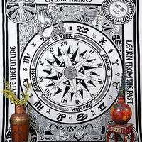 Black & White Color Compass Tapestry Indian Bedspread Wall Hanging TIUK DBS183