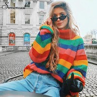 Colorful Rainbow Turtleneck Sweater