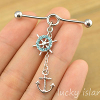 Industrial barbell,anchor and rudder ear piercing,anchor industrial barbell,friendship ear piercing
