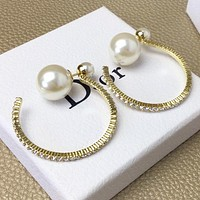 Dior New fashion pearl more diamond round earring accessory women Golden