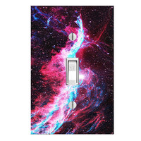 Outer Space Galaxy Light Switch Cover with Decal Stars Wall Art LS18