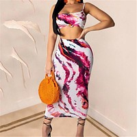 Summer Sexy Fashion Two Piece Set Crop Top And Skirt Set 2 Piece Set Women Sexy Multicolor Bodycon Two Piece Outfits New