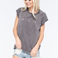 Rusty Fine Lines Womens Tee Off Black  In Sizes