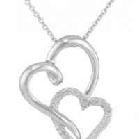 Sterling Silver Diamond Two Hearts Pendant Necklace, 18 Inch (1/10 cttw)