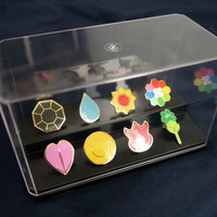Pokemon Gym Metal Badges SETS and Display Cases