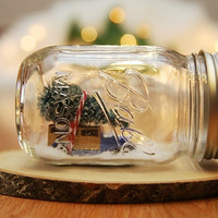 Snow globe mason jar old car  Winter Christmas decor rustic retro bottle brush trees gift for her dorm room apartment