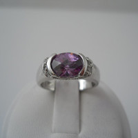 Sterling Silver 925 Purple Clear Crystal Ring Size 7 FAS925