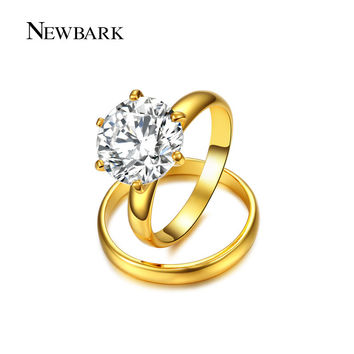 NEWBARK Two Band Ring Big Round 2.75 Ct AAA+ CZ Diamond Wedding Jewelry Rings Set For Women White Gold Plated Anel