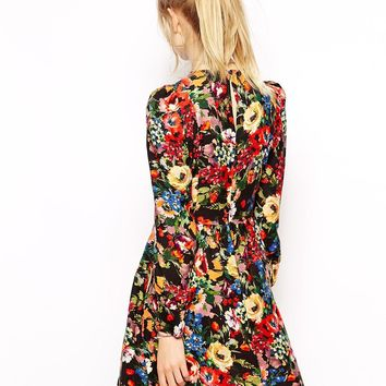 Love Moschino Dress with Puff Sleeves in Floral Print