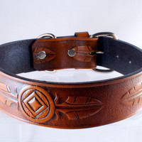 Leather Dog Collar Large Tooled