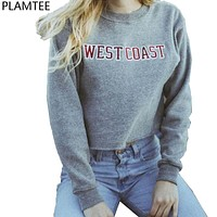 New Moletom Feminino 2017 Autumn Letters Printed Short Sweatshirts Women Gray Hoodies Harajuku West Coast Cropped Sweatshirts