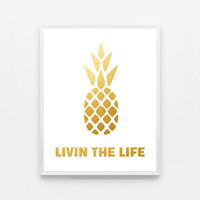 Gold Typography Print - Gold Pineapple Wall Art - Gold Kitchen Print - Pineapple Typography Print - Gold Art - Gold Print - Gold Wall Art