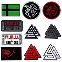 Embroidery Patch Tactical Vikings Morale Patch Valknut Badge Appliques Emblem Military Biker Embroidered Patches for Clothing