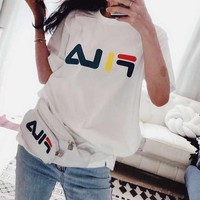 """ FILA"" Women Casual Fashion Letter Pattern Print Short Sleeve T-shirt Tops"