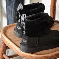 U UGG hot seller of women's casual boots, fashionable velvet mid-top UGG boots