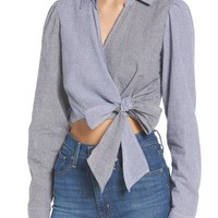 Love, Fire Mixed Gingham Wrap Front Shirt | Nordstrom