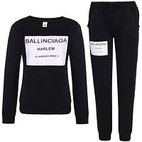 Balenciaga Fashion Print Top Sweater Pullover Drawstring Pants Trousers Set Two-Piece-1