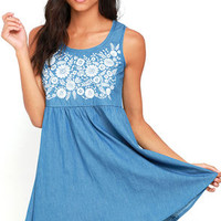 Mary Jane Embroidered Blue Chambray Dress