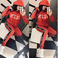 Valentino VLTN Fashion Casual Print Hoodie Top Sweater Pants Trousers Set Two-piece