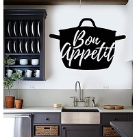 Vinyl Wall Decal Bon Appetit Kitchen Pots Cooking Kettle Cuisine Stickers Unique Gift (ig4431)