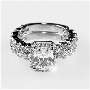 Genna 1(ct) Radiant Halo Engagement and Wedding Ring Set | 4ct