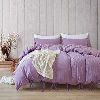 Simple Purple Duvet Cover Set Polyester Lacing Twin Queen King Pillowcase Bed Covers Solid Color Reactive Printing Bedding Sets
