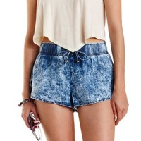 Chambray Acid Wash Chambray Dolphin Shorts by Charlotte Russe