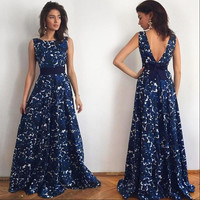Hot Sale Print Backless Sleeveless Prom Dress One Piece Dress [4970296068]