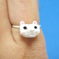 Adorable 3D Polar Bear Head Shaped Animal Ring in Silver