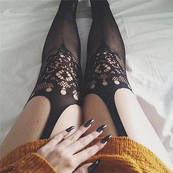 Pantyhose Hot Sale Women's Fashion See Through Hollow Out Lace Socks [507876180022]