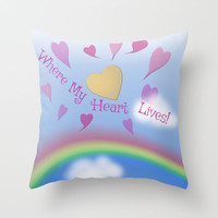 Where My Heart Lives Throw Pillow by FlaminCat Designs