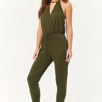 French Terry Surplice Cutout Halter Jumpsuit