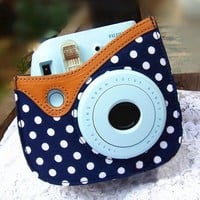 Colorful Dots Spot Camera PU Leather Case Bag For Fujifilm Instax mini 8 + Free Shoulder Strap - Blue