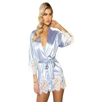 Sexy Adore You Satin and Eyelash Lace Robe, Silver/White - One Size