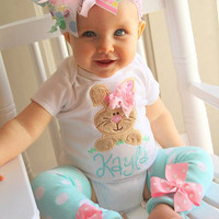 Baby Girl Easter Outfit -- Hippity Hop -- Easter Bunny bodysuit, leg warmers and Over The Top bow -- pastel aqua, pink, mint