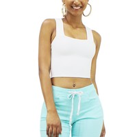 Summer Sleeveless Square Neck Wide Strap Ribbed Crop Top