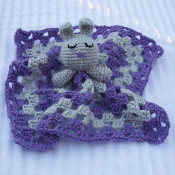 Sleeping Bunny Crochet Baby Blanket, Baby Lovey Blanket, Baby Lovie Blanket, Baby Security Blanket