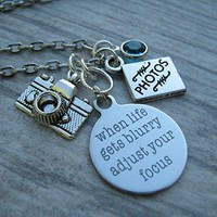 Personalized Photographer Necklace, When Life Gets Blurry Adjust Your Focus Necklace, Photography Jewelry, Birthstone Necklace