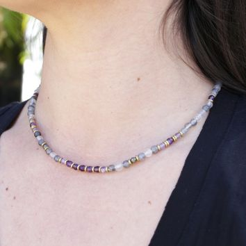 Cloudy Quartz and Amethyst Delicate Necklace