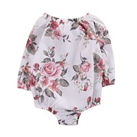 Newborn Toddler Baby Girls Clothes Bodysuit Long Sleeve Flower Casual Cute Clothing Baby Girl Bodysuit Outfit