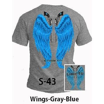 Country Life Outfitters Gray & Blue Wings Guns Vintage Girlie Bright T Shirt
