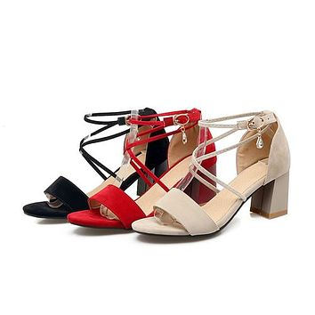 Women Strappy High Heel Chunky Sandals