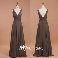 Chocolate Deep V Neck Draped Bodice Chiffon Bridesmaid Gown With V Back