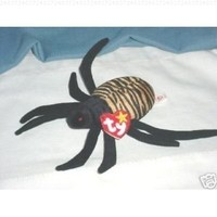 TY Beanie Babies Spinner the Spider Stuffed Animal Plush Toy - 6 inches long - Black with Light Brown