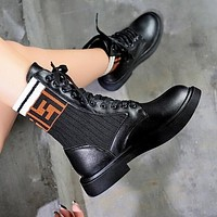 "Hot Sale ""FENDI"" Popular Woman Personality F Letter Knit Stretch Socks Boots Shoes Black"