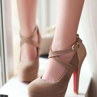 Ankle Strap Shoes Round Toe Platform Pumps