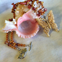 Butterfly Necklace Hand Made Boho Carved Bone Butterfly Pendant, Rose and Gold Freshwater Pearls, and Sterling Silver Leaf Clasp Woodland